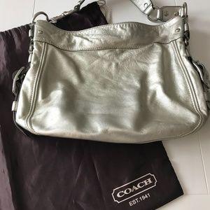 Coach: Zoe Metallic Leather Hobo Bag